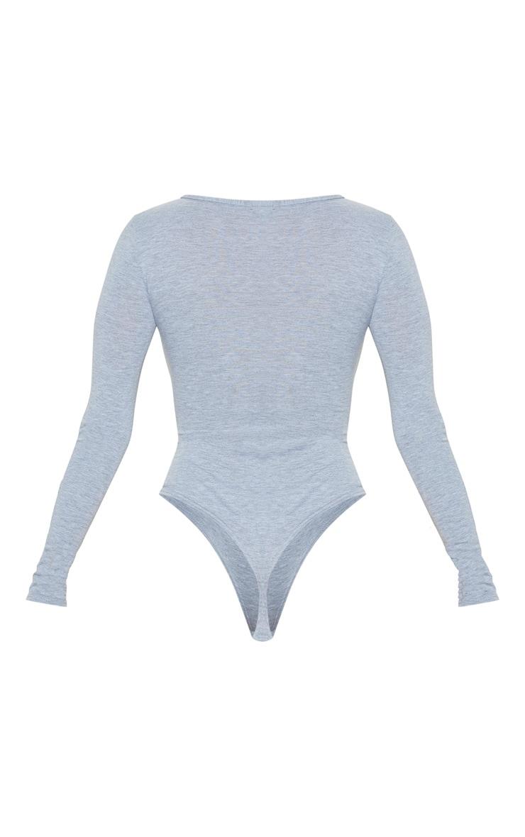 Basic Grey Marl Plunge Long Sleeve Bodysuit 4