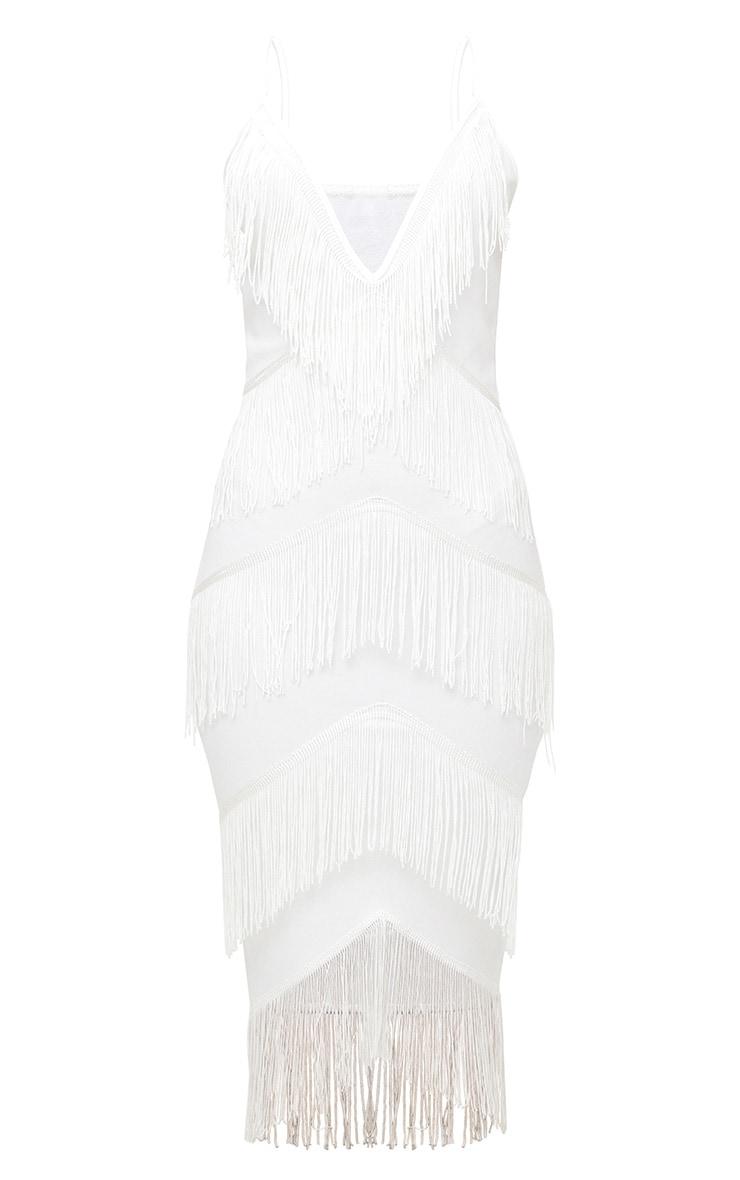 White Strappy Tassel Longline Midi Dress 3