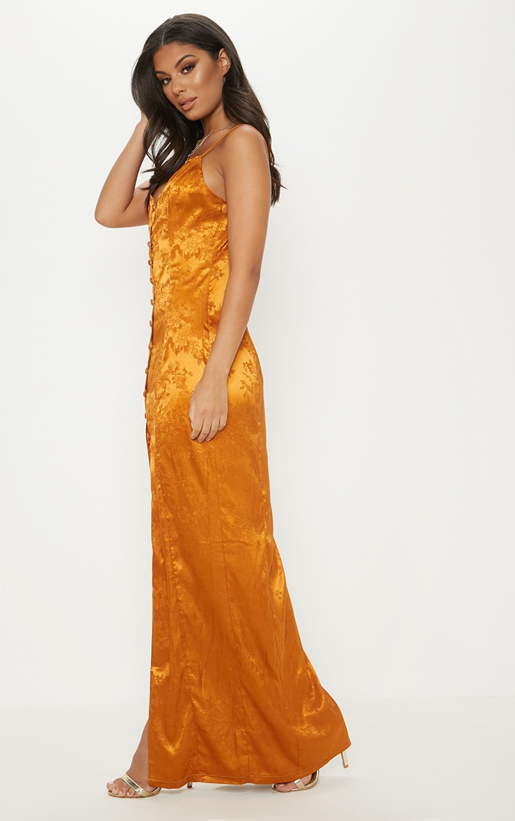 Mustard Jacquard Button Detail Maxi Dress 4