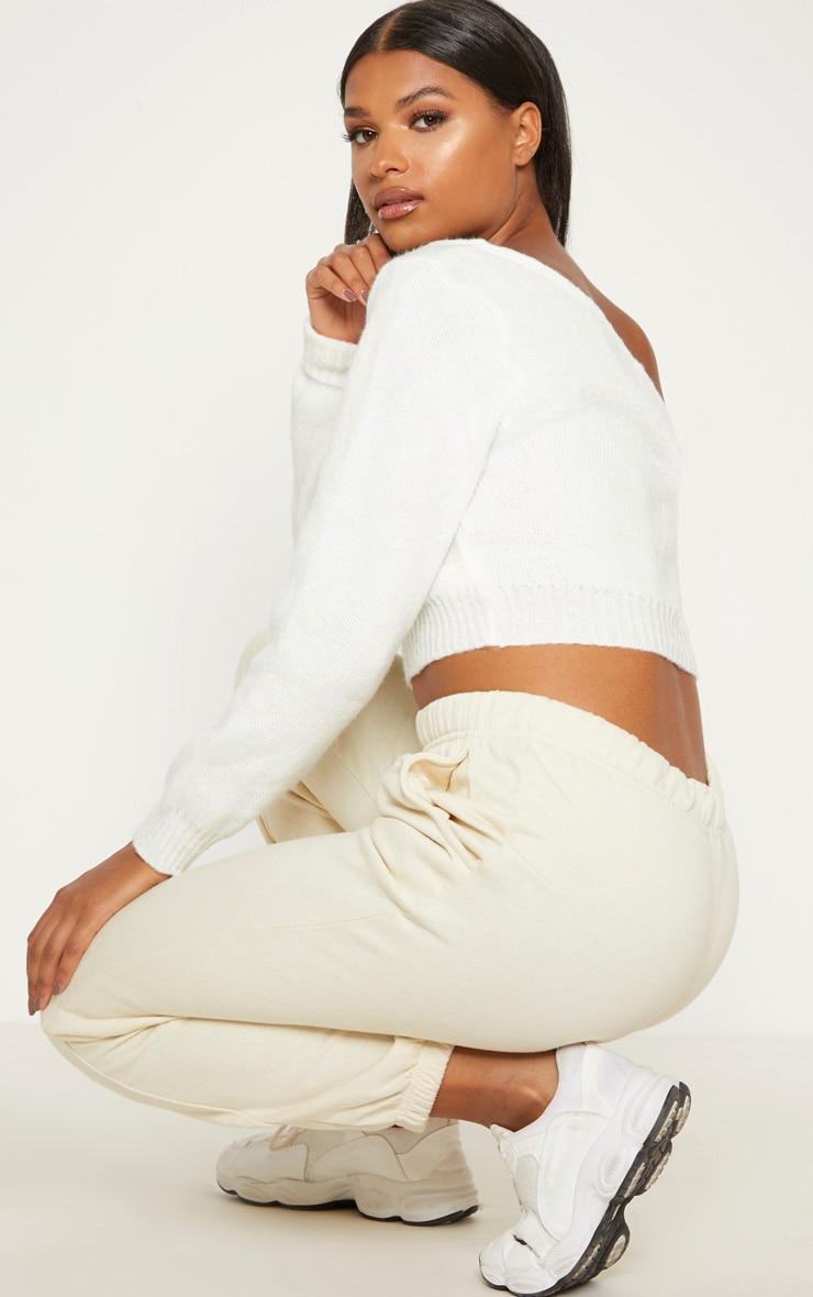Cream V Neck Off Shoulder Knitted Cropped Jumper 2