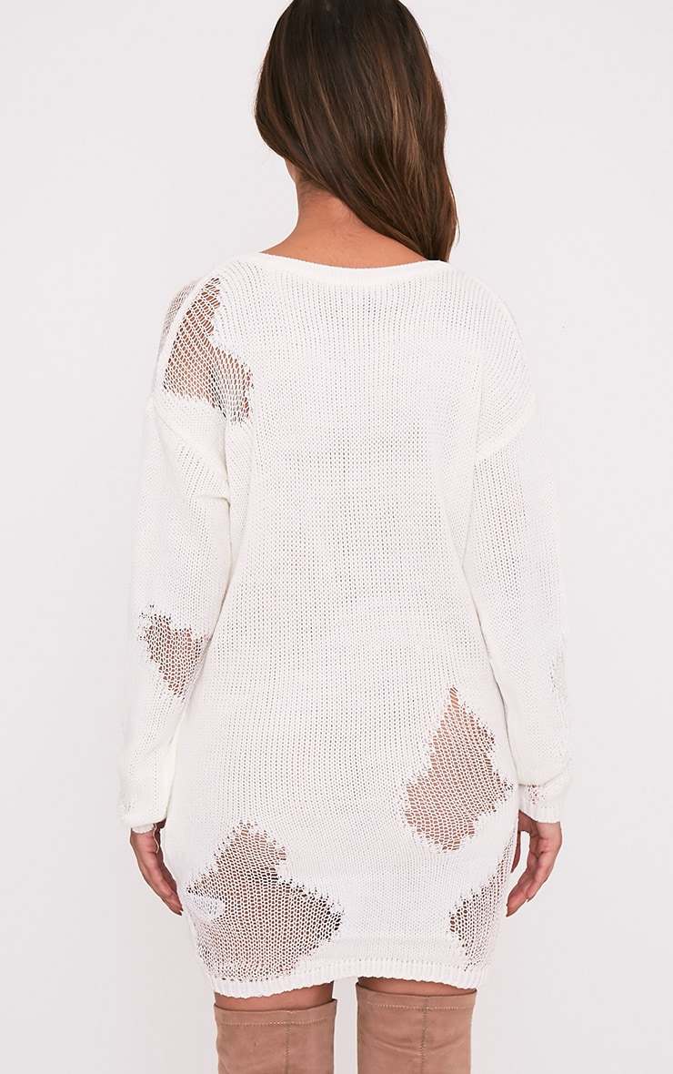 Romanae Cream Frayed Rip Knitted Jumper 2