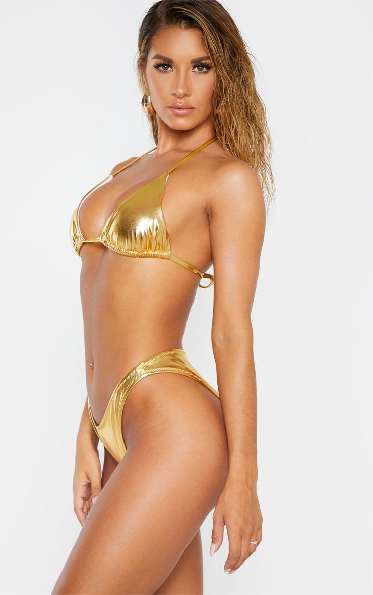 Gold Metallic V Front Brazilian Bikini Bottom 3