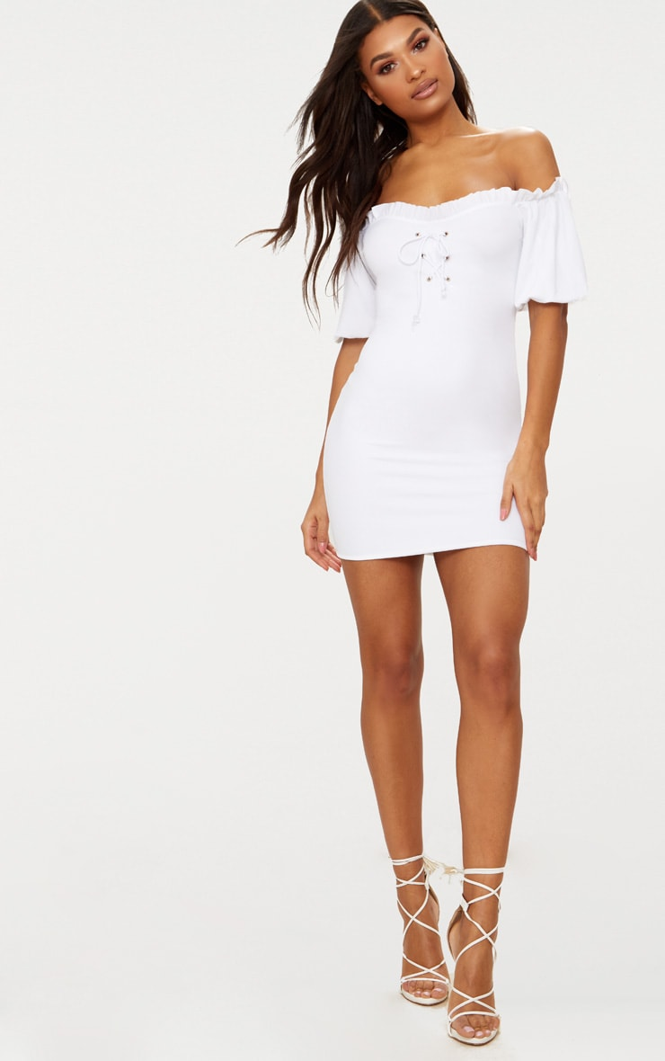 White Frill Trim Bardot Lace Up Detail Bodycon Dress 4