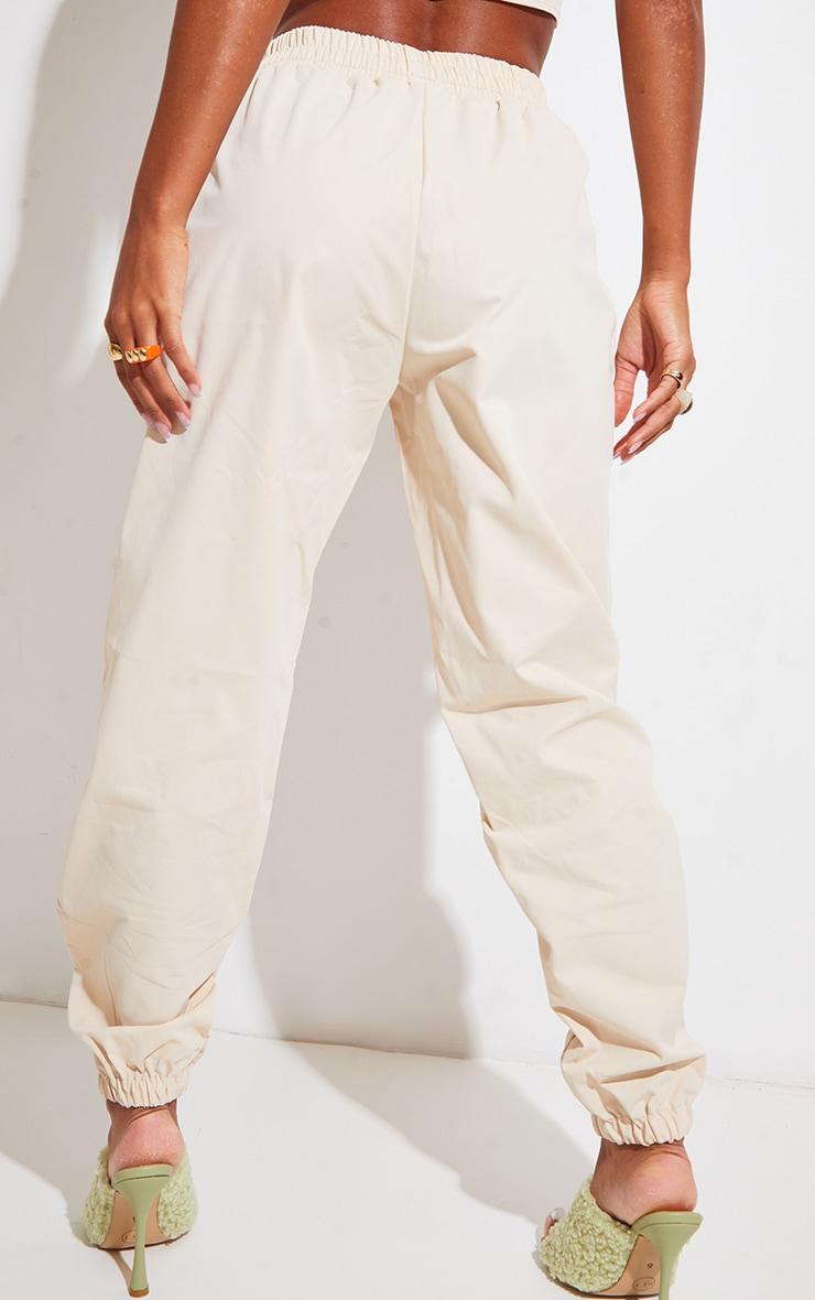 Cream Woven Zip Detail Cuffed Pants 3