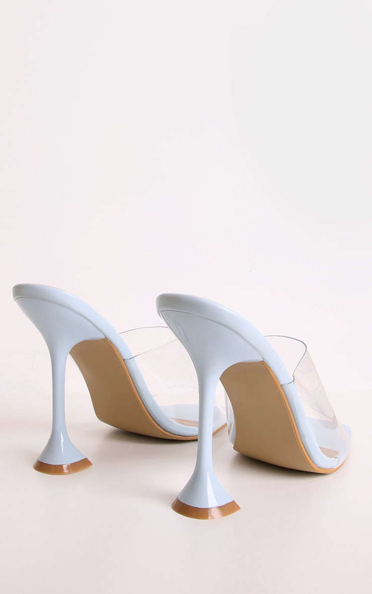 Blue Cake Stand Clear Heel Mules 2
