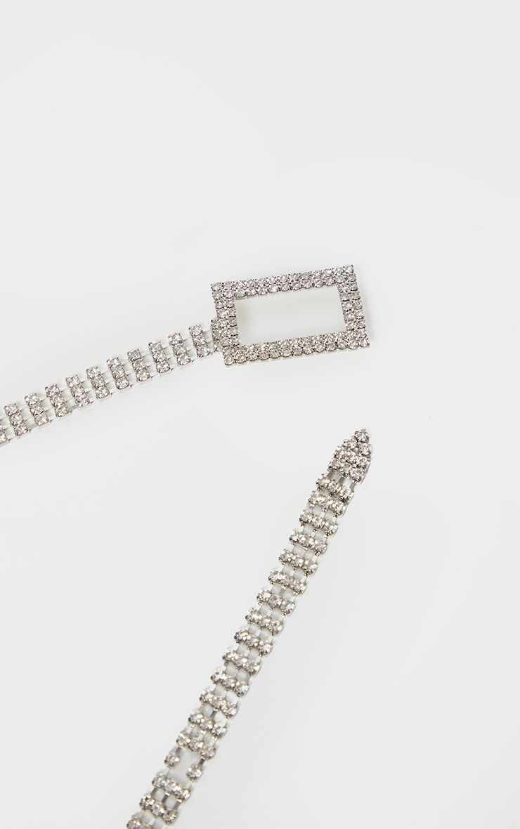 Silver Diamante Square Buckle Belt 3