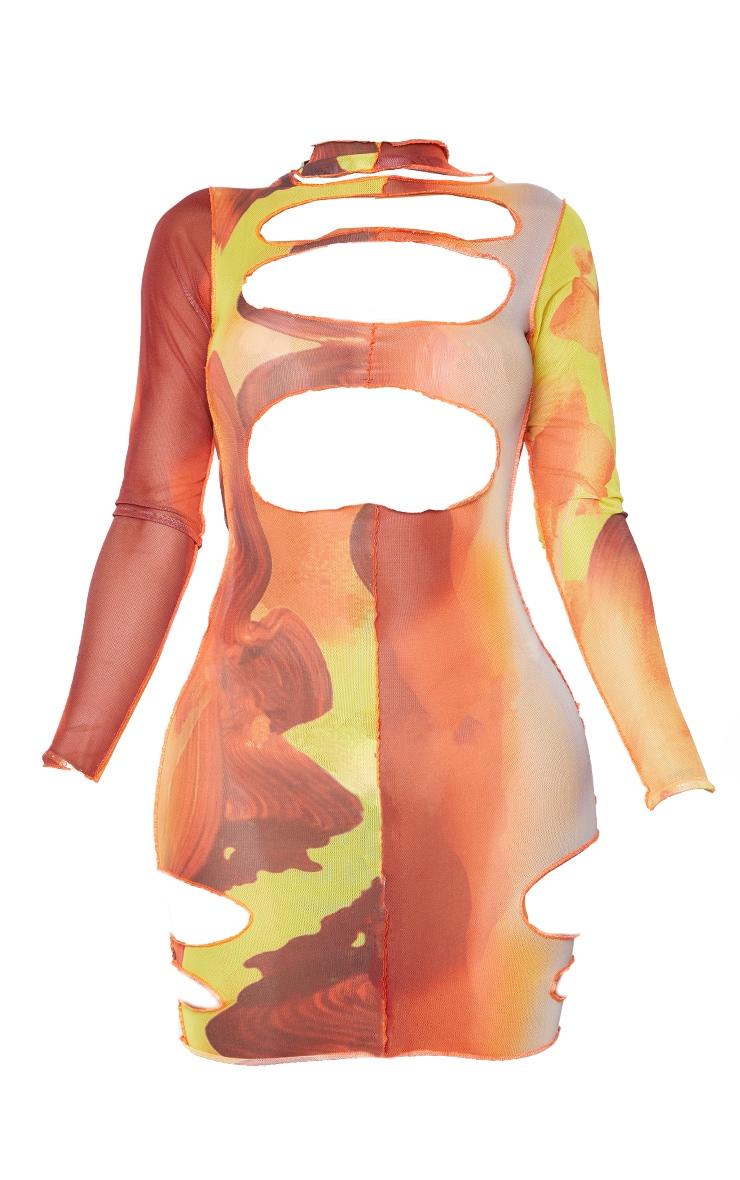 Shape Orange Mix Print Sheer Mesh Cut Out Bodycon Dress 6