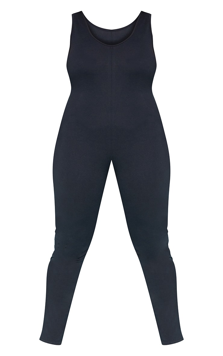 RECYCLED Plus Black Scoop Neck Jumpsuit 4