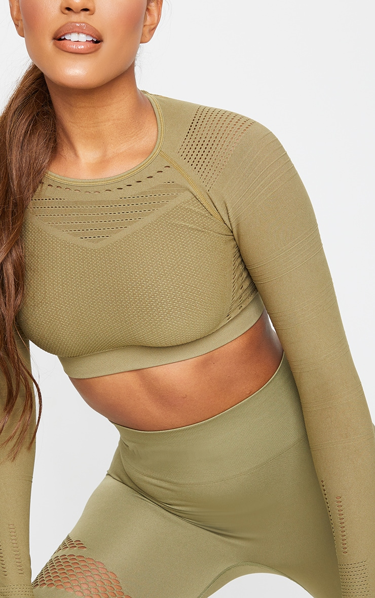 PRETTYLITTLETHING Khaki Sport Long Sleeve Cut Out Seamless Top 4