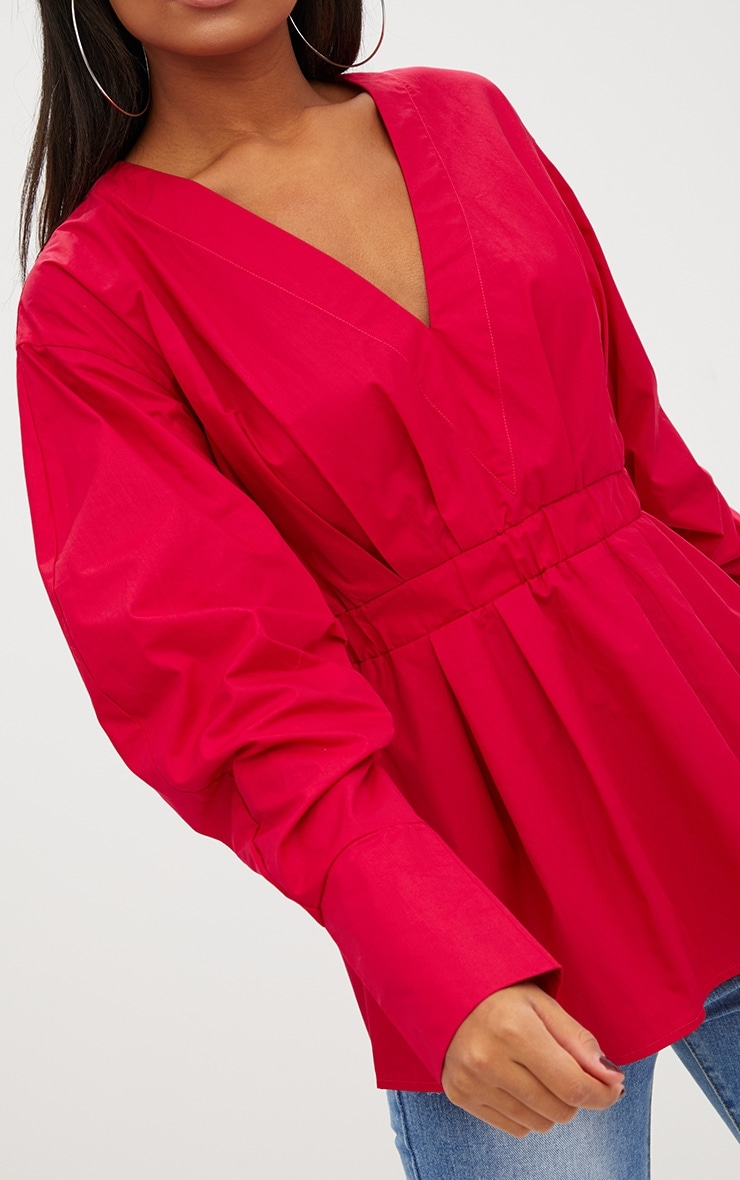 Red Ruched Sleeve Gathered Waist Shirt  5