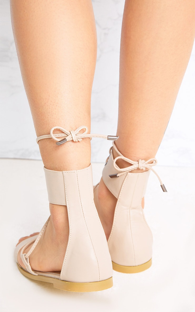Kassia Nude Lace Up Sandals 4