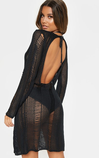 a4348750ce9 Black Crochet Distressed Open Back Dress