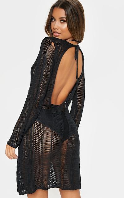 Black Crochet Distressed Open Back Dress