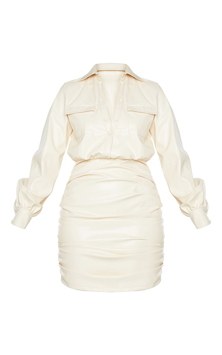 Cream PU Ruched Pocket Detail Shirt Style Bodycon Dress 5