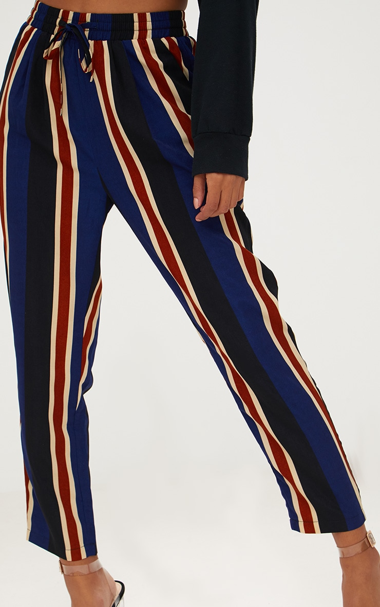 Petite Navy Stripe Casual Trousers 5