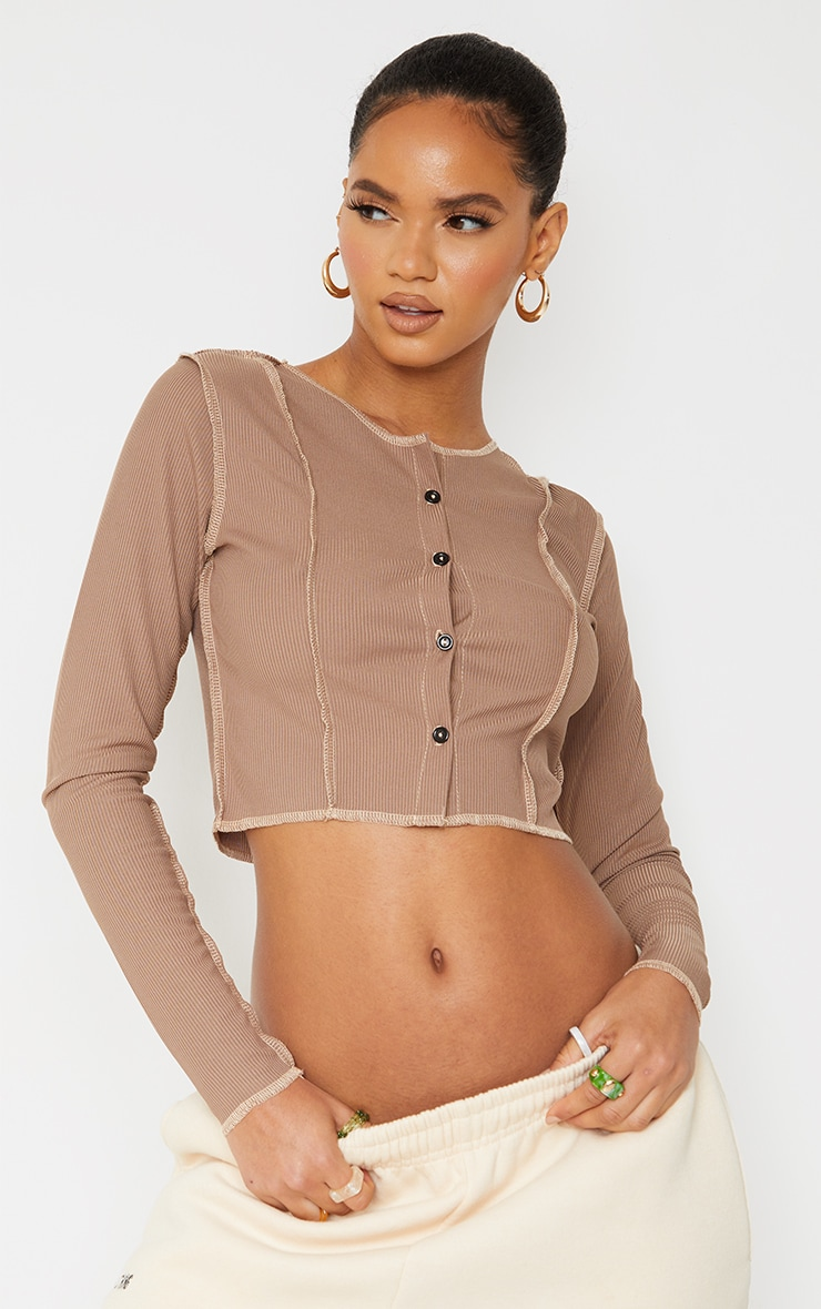 Brown Rib Contrast Splice Button Shirt 1