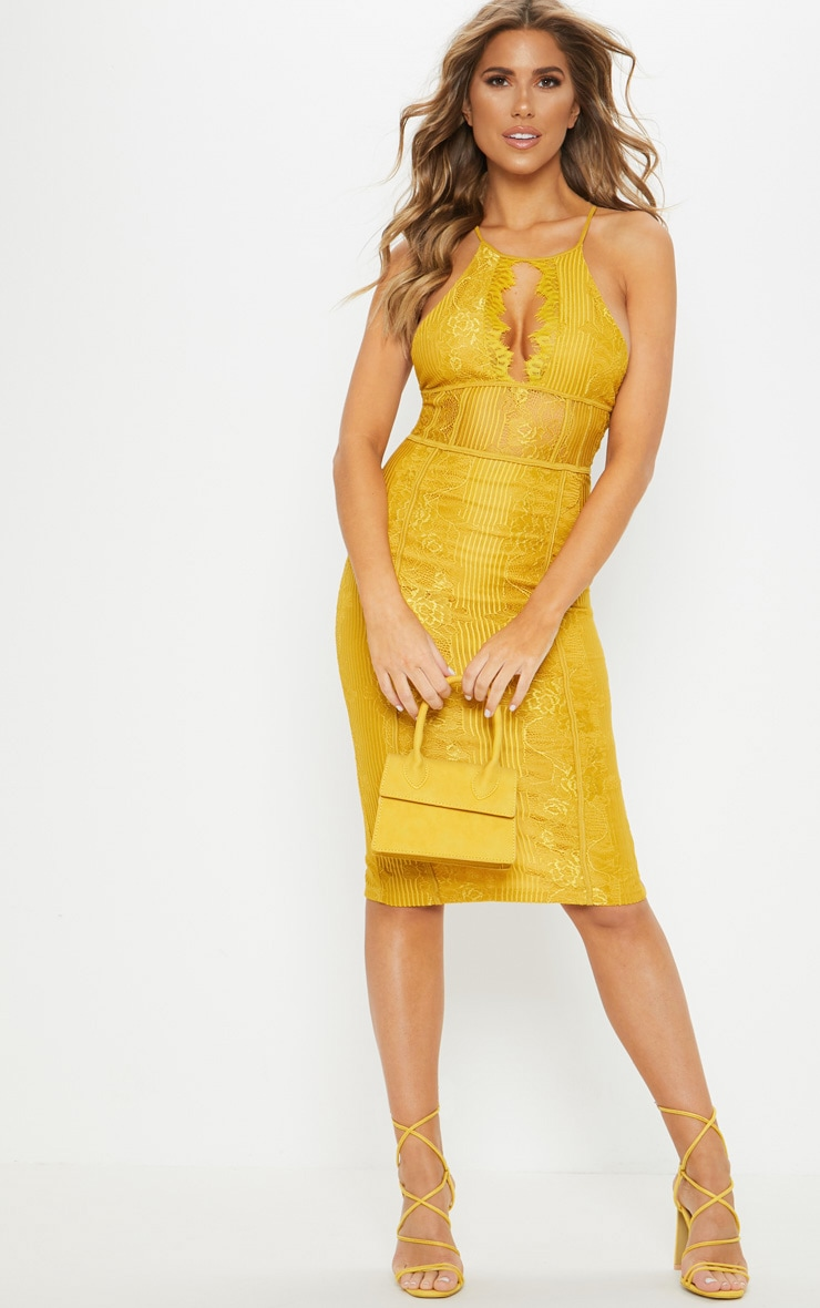Mustard Lace Cut Out Front Cross Back Midi Dress  1