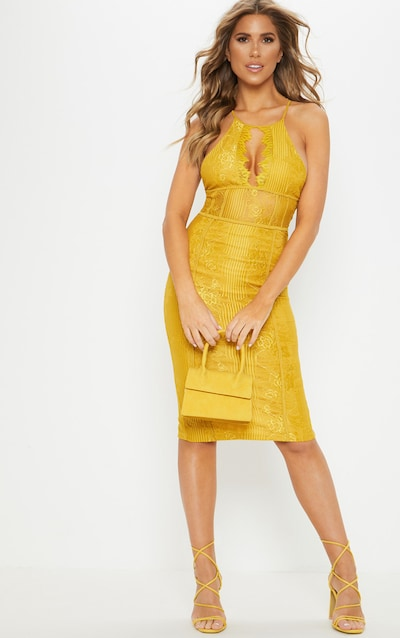 41781c225cf Mustard Lace Cut Out Front Cross Back Midi Dress