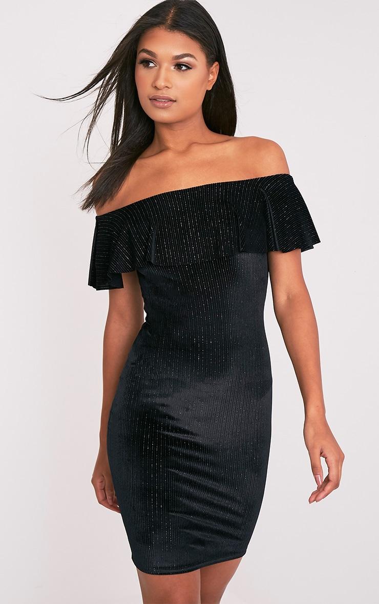 Jardia Black Velvet Frill Bardot Midi Dress 1