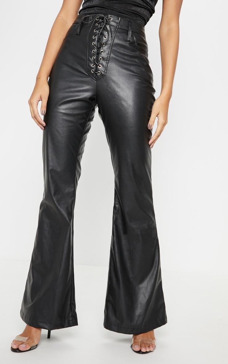 Black Faux Leather Lace Up Front Flare Leg Pants 2
