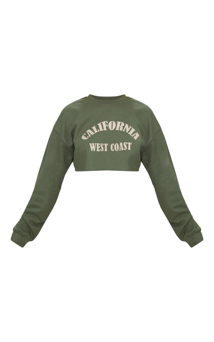 Khaki California Slogan Crop Sweater  3