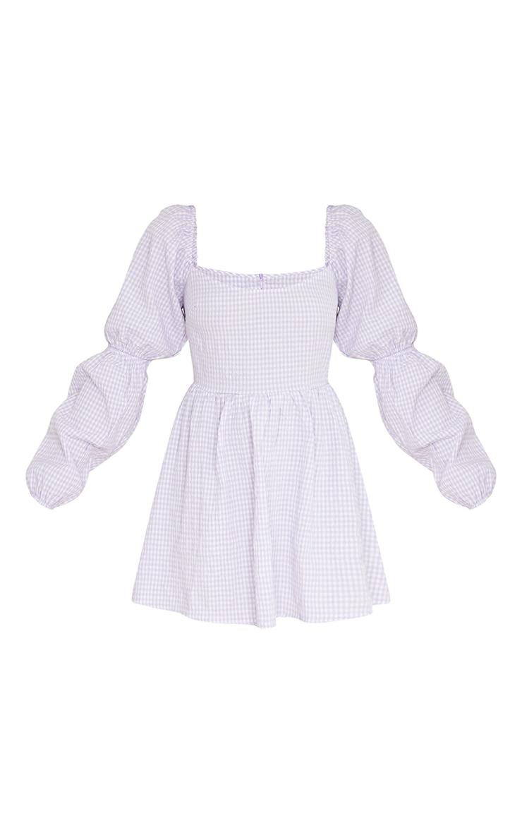 Lilac Textured Gingham Balloon Sleeve Shift Dress 5