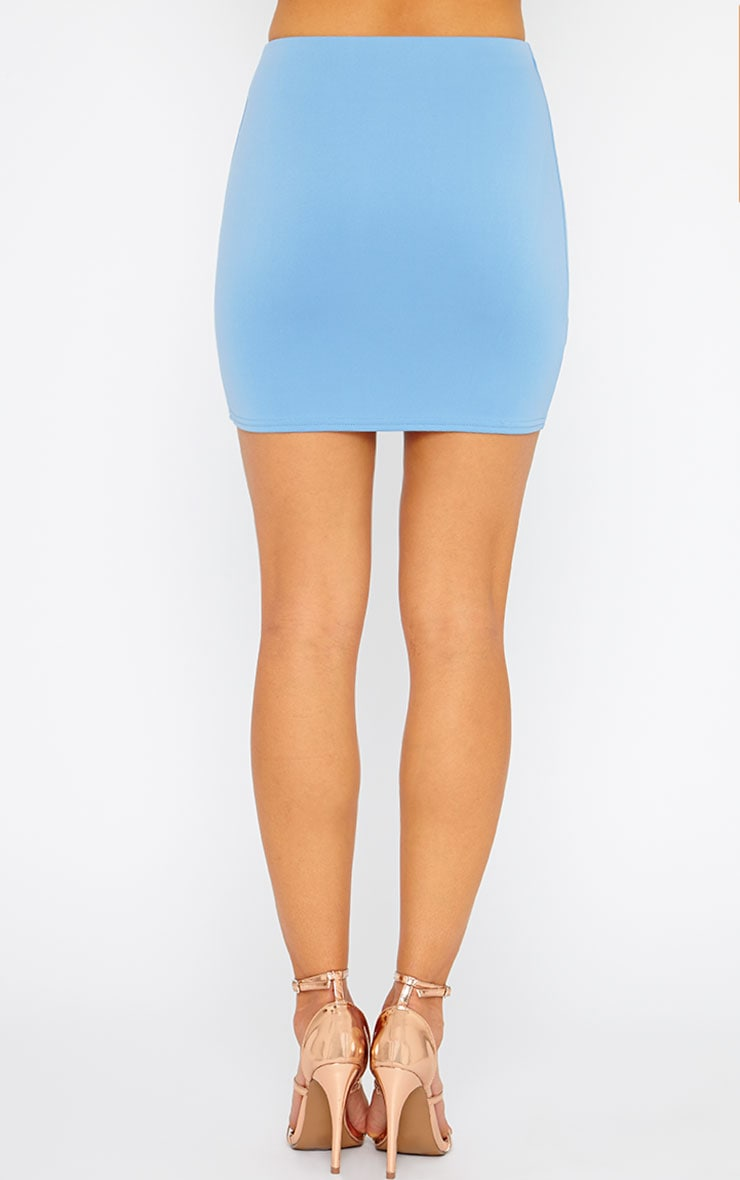 Basic Blue Scuba Mini Skirt 4
