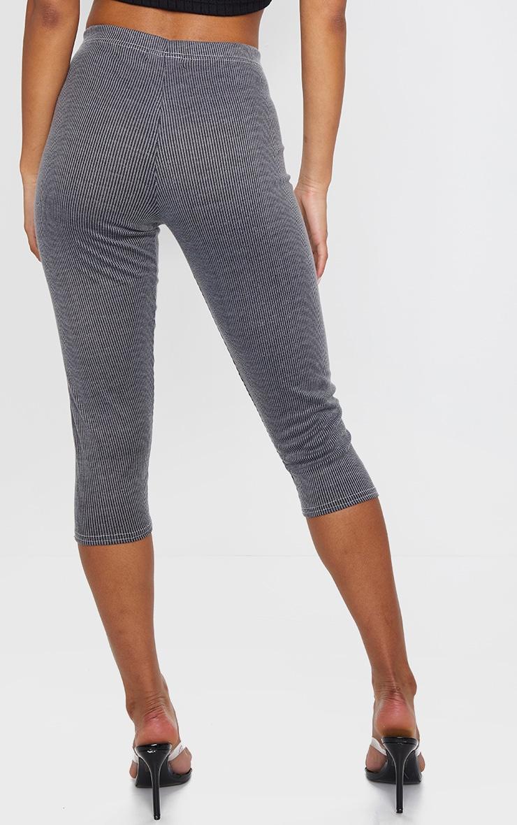 Grey Rib Contrast Stitch Crop Legging 3