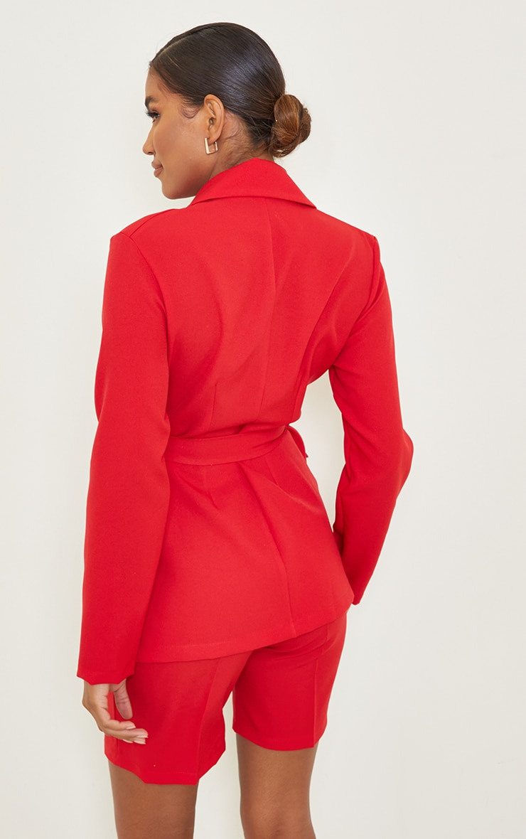 Red Woven Belted Waist Pocket Blazer 2