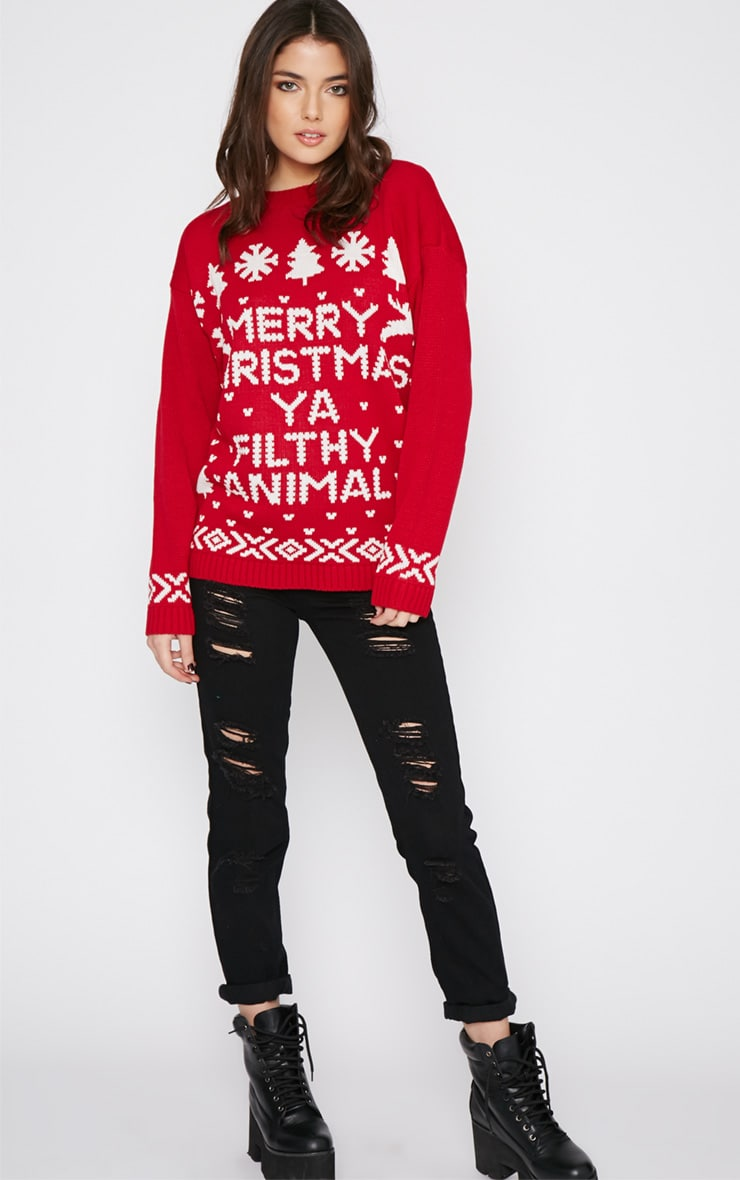 Sarah Red Filthy Animal Christmas Jumper 3