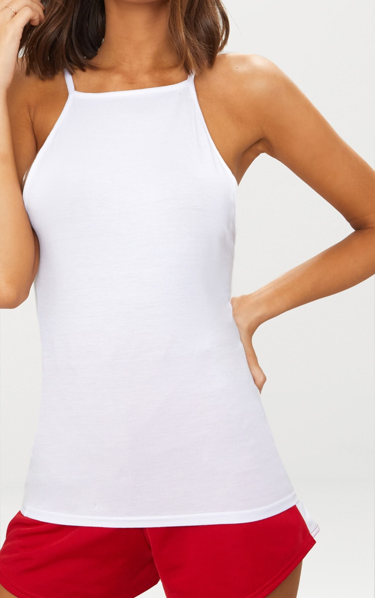 White Rib Low Back Vest 4