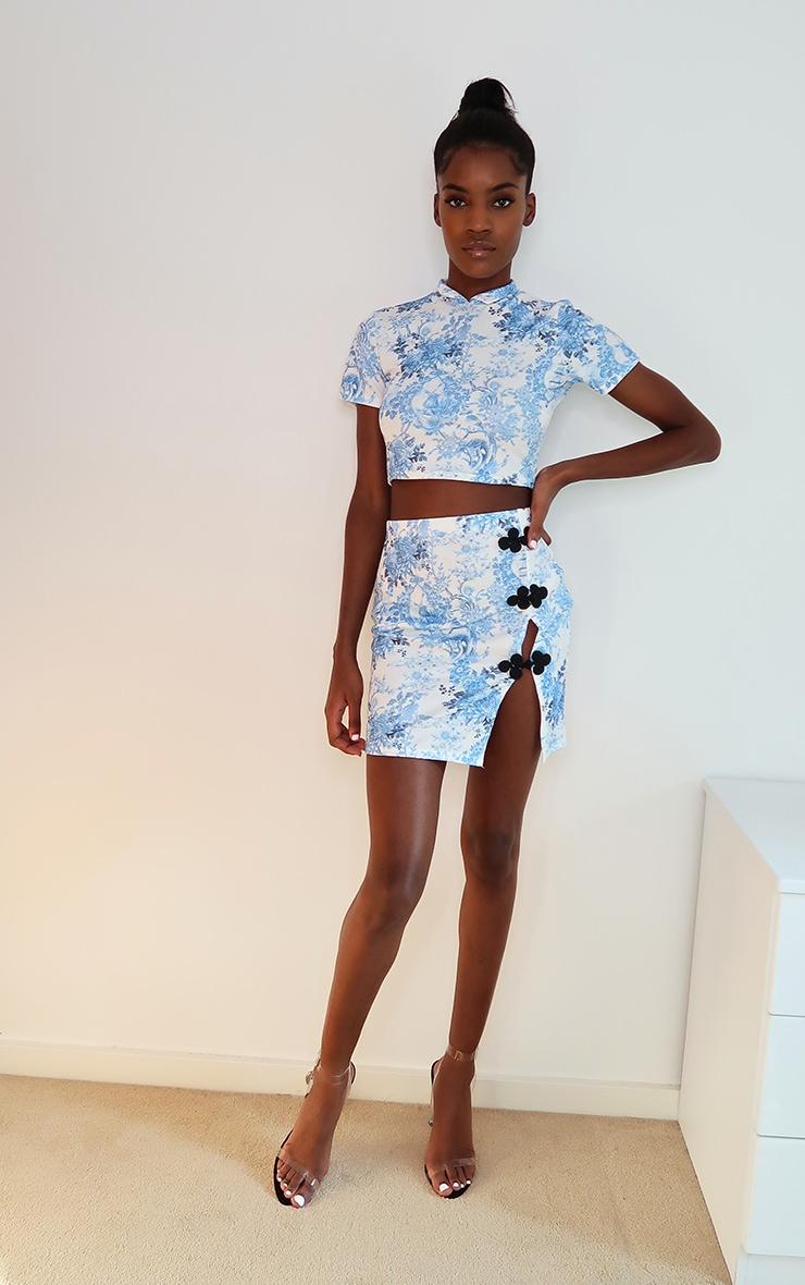 Blue Oriental Print High Neck Short Sleeve Crop Top 3
