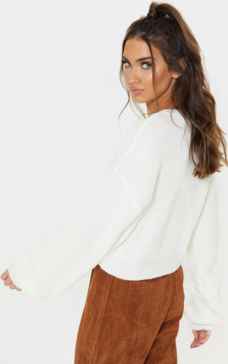 Cream Wide Sleeve Knitted Sweater  3