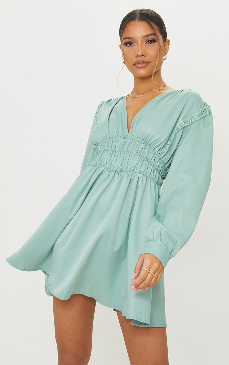 Sage Green  Ruched Waist Trim Detail V Neck Shift Dress 1