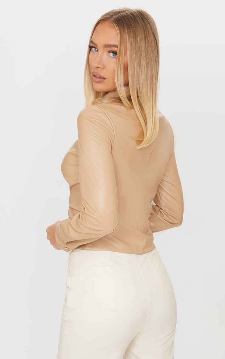 Cream PU Ruched Button Stand Fitted Shirt 2