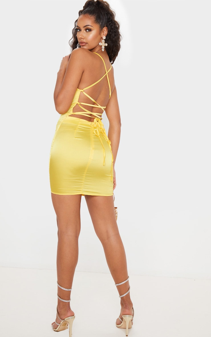 Lemon Stretch Satin Lace Up Back Cowl Neck Bodycon Dress 2