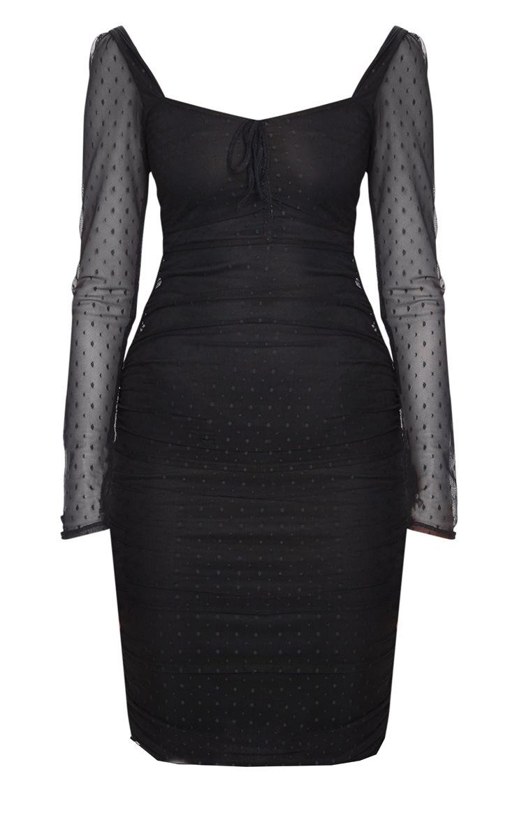 Black Dobby Mesh Ruched Long Sleeve Midi Dress 3