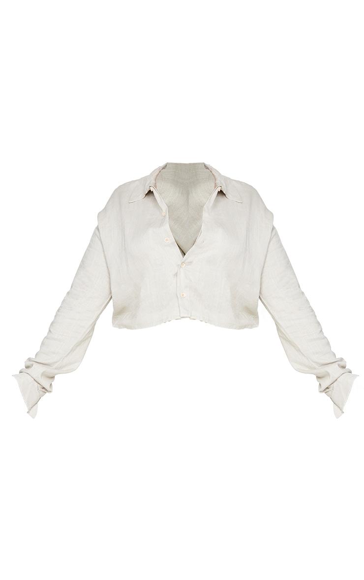 Plus Grey Linen Look Crop Shirt 5