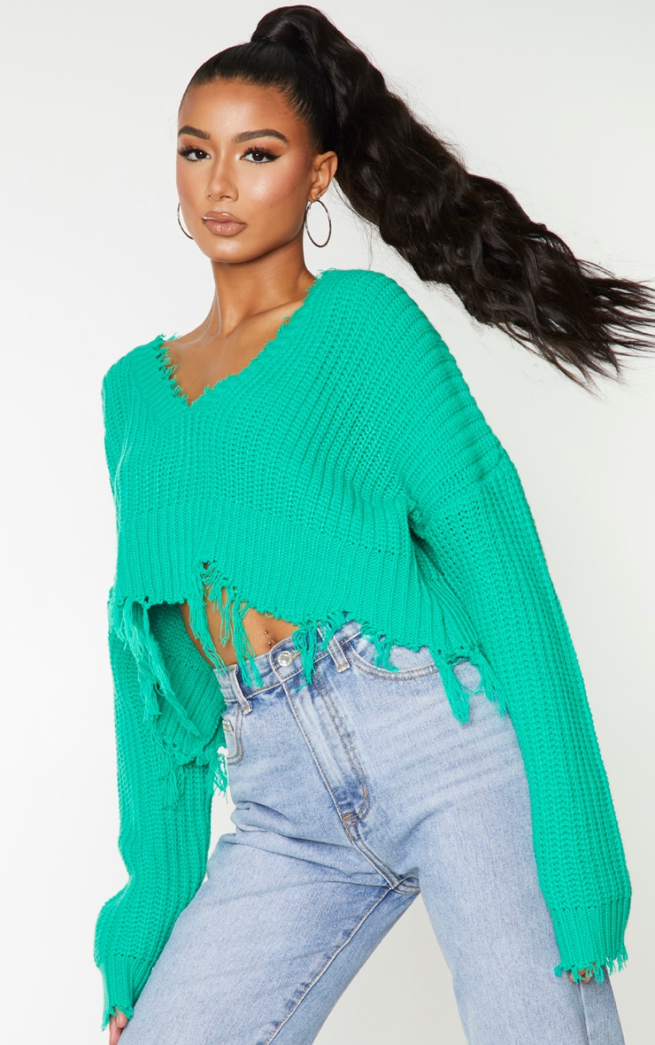 Green Fringe Hem Knitted Sweater 1