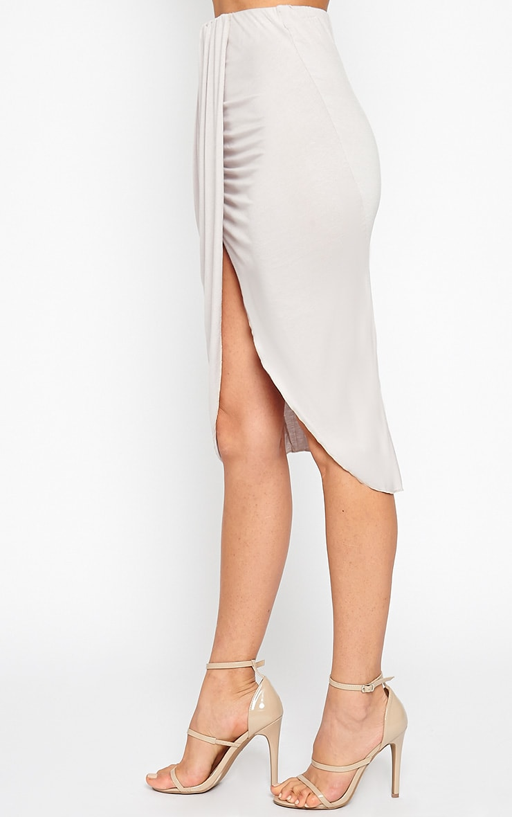 Ivana Grey Drape Midi Skirt 3