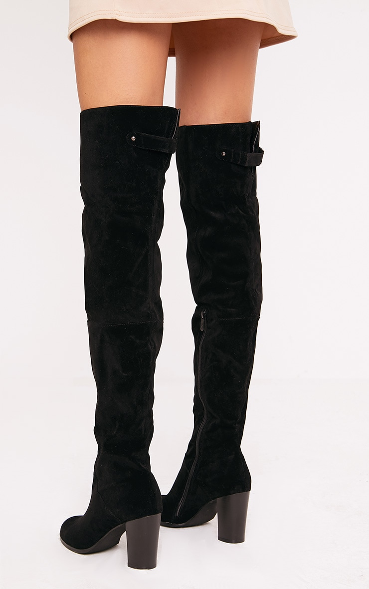 Keyra bottes cuissardes noires en imitation daim 4