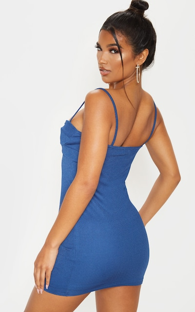 Midnight Blue Sleeveless Cut Out Cup Bodycon Dress