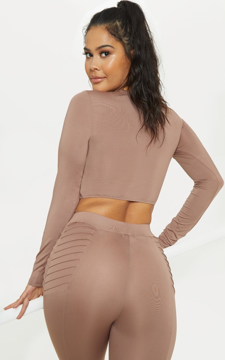 Mauve Rib Detail Long Sleeve Crop Top 2