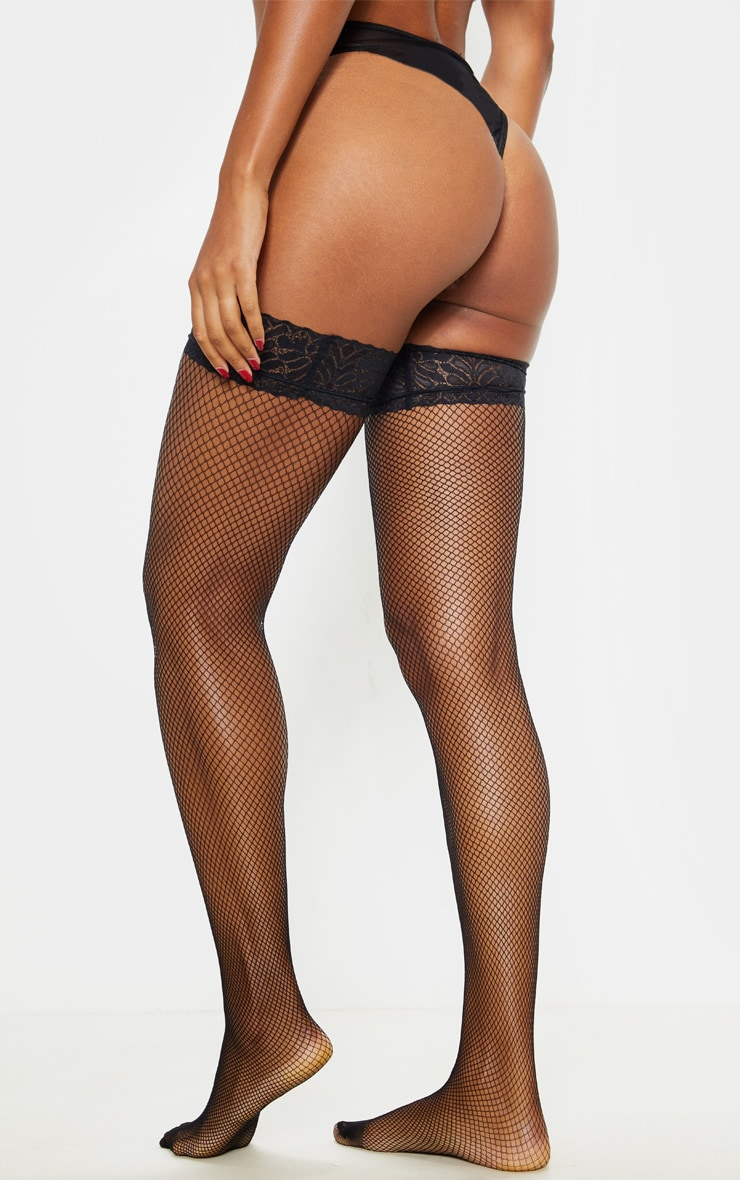 Black Lace Top Fishnet Hold Ups 2