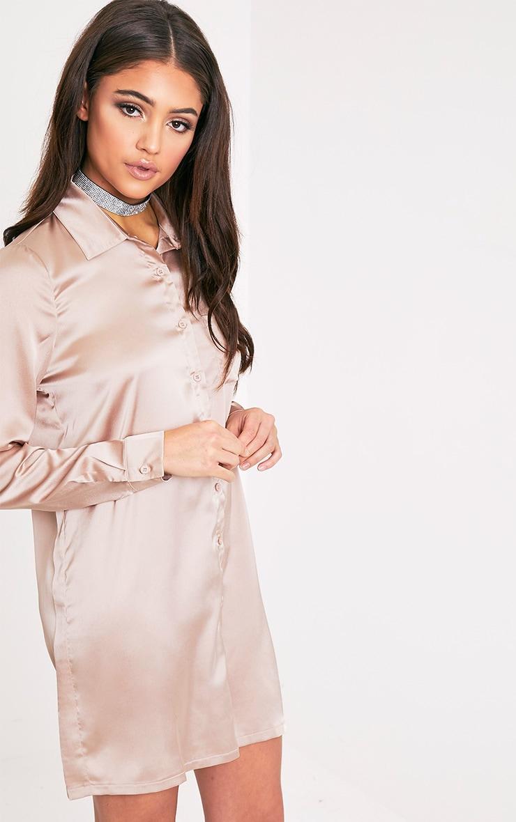 Layla Mocha Satin Shirt Dress 4