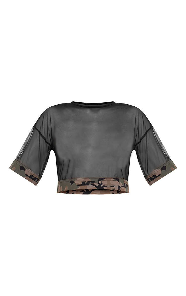Kyla Black Mesh Camo Trim Crop T Shirt 3
