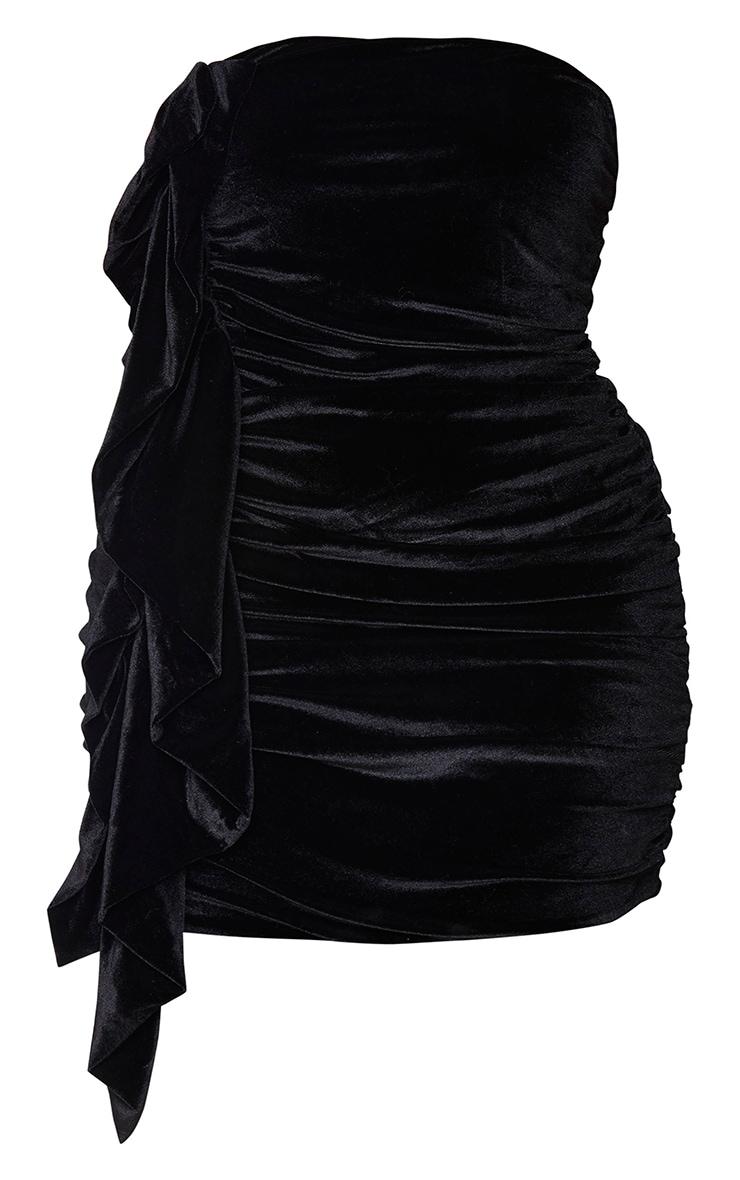 Plus Black Velvet Ruched Bandeau Dress 5