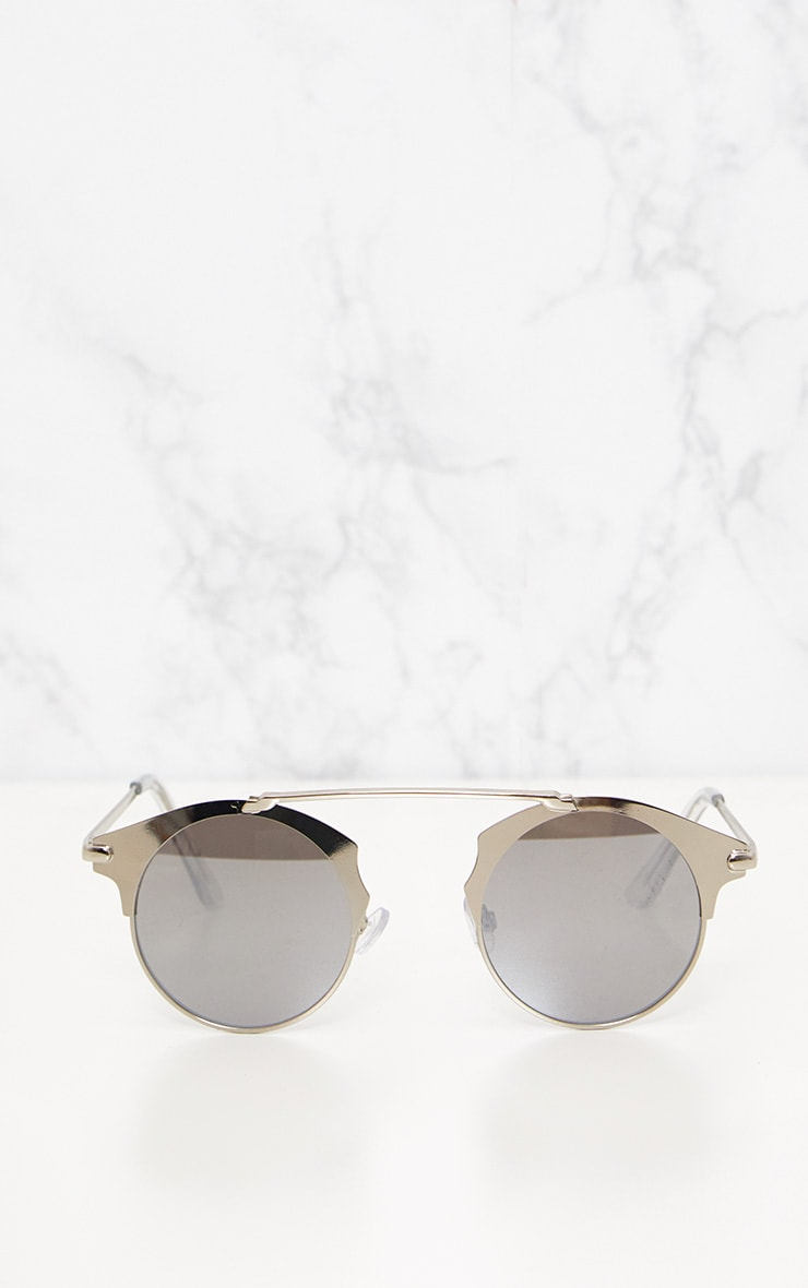 Silver Curved Top Bar Sunglasses 3