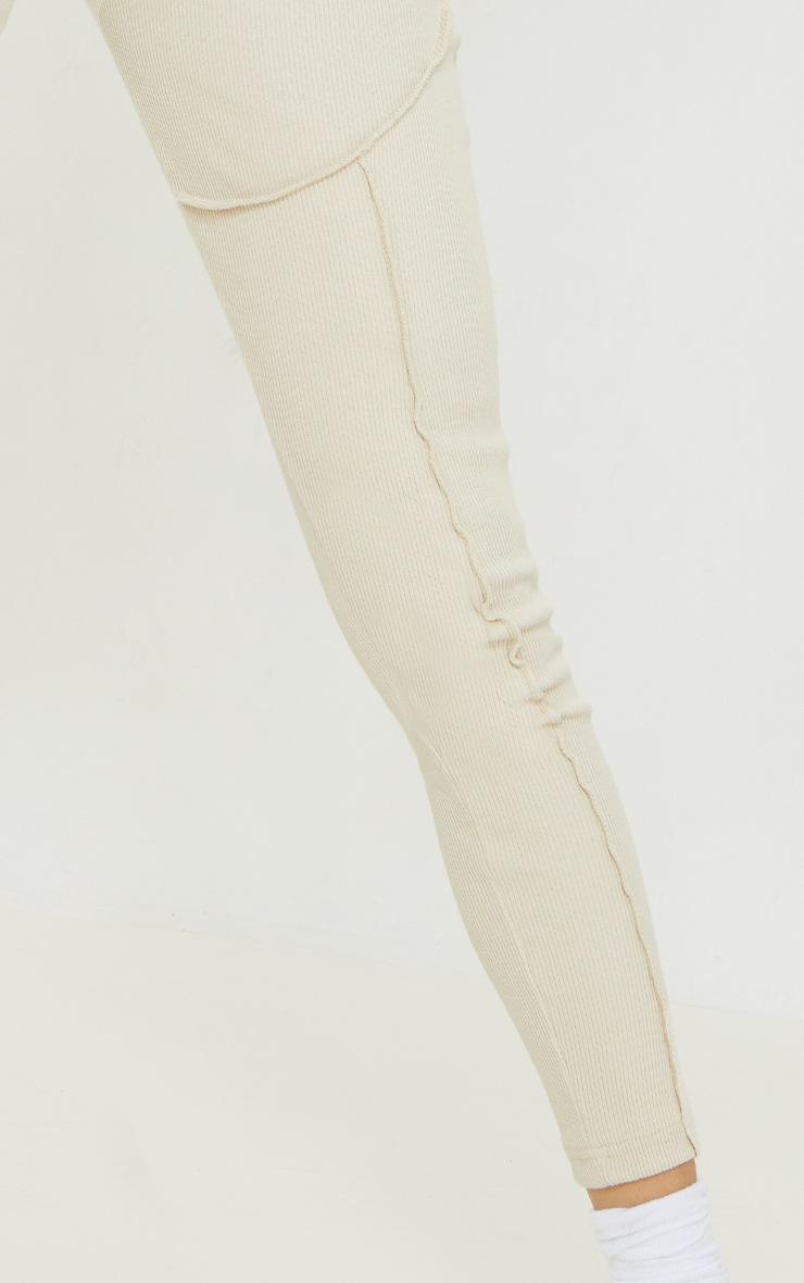 Sand Heavy Ribbed Overlock Detail Leggings 4