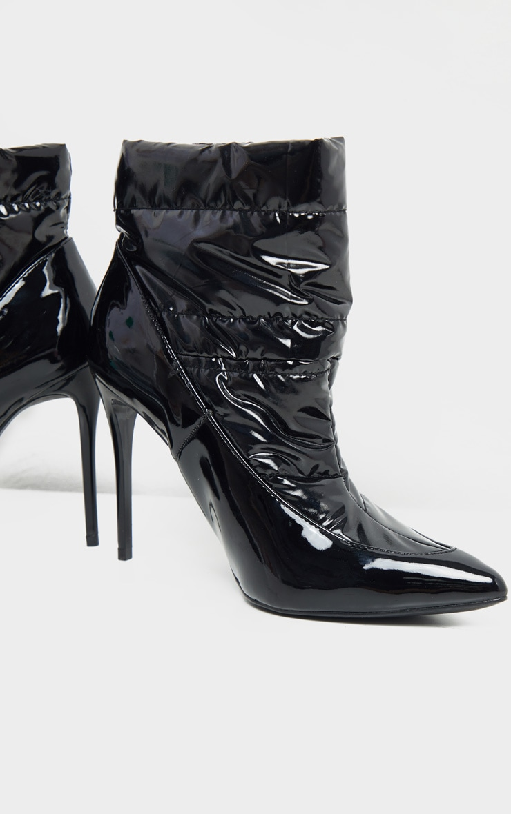 Black Quilted High Shine Ankle Boot 4